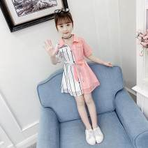 Dress Pink shirt dress, violet shirt dress female Other / other 120cm, 130cm, 140cm, 150cm, 160cm, slightly fat, take a big banner, 110cm Other 100% other A-line skirt Three months, 12 months