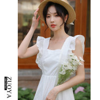 Dress Summer 2021 white S,M,L,XL,2XL Mid length dress singleton  Sleeveless commute square neck High waist Solid color Socket A-line skirt routine Others 18-24 years old Type A Other / other Korean version Lotus leaf edge 3358-2 81% (inclusive) - 90% (inclusive) other other