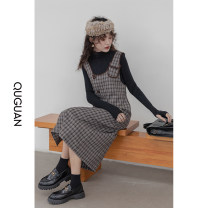 Dress Winter 2020 Khaki regular, khaki thin S,M,L longuette singleton  Sleeveless commute One word collar High waist lattice double-breasted One pace skirt other straps 18-24 years old Type H QuGuan Korean version 31% (inclusive) - 50% (inclusive) other polyester fiber
