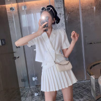 Women's large Summer 2021 white S M L XL 2XL 3XL 4XL Two piece set commute easy Cardigan Short sleeve Solid color Korean version V-neck have cash less than that is registered in the accounts Three dimensional cutting routine dliyou-be65 Danliyou Button Short skirt Other 100%