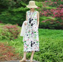 Dress Summer 2021 longuette singleton  Sleeveless commute Crew neck Loose waist Decor Condom A-line skirt routine 25-29 years old Type A printing 20006-YD 30% and below other other S,M,L,XL Green flowers, ink, pink
