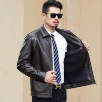 leather clothing Others Business gentleman Black, brown 170/M,175/L,180/XL,185/2XL,190/3XL,195/4XL routine Imitation leather clothes Lapel Straight cylinder zipper autumn leisure time middle age PU Business Casual JCKBS-PY2022 Cloth hem Side seam pocket