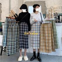 Dress Spring 2021 White check orange Navy green coffee green check blue check M L XL XXL longuette commute High waist A-line skirt 18-24 years old Anonymous man Retro Splicing More than 95% other Other 100%