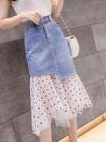 skirt Spring 2021 S is suitable for 80-95 Jin, M is suitable for 96-104 Jin, l is suitable for 105-114 Jin, XL is suitable for 115-124 Jin, 2XL is suitable for 125-140 Jin blue Mid length dress commute High waist A-line skirt Solid color Type A 18-24 years old TYL4168094 More than 95% Denim other