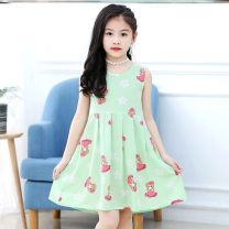 Dress female Other / other The recommended height is 85-95cm for 100, 95-105cm for 110, 105-115cm for 120, 115-125cm for 130, 125-135cm for 140, 135-145cm for 150, 145-152cm for 160 and 152-160cm for 170 Viscose (viscose) 100% summer leisure time Skirt / vest Broken flowers cotton Pleats Class B