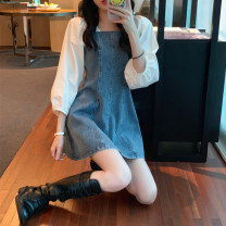 Dress Winter 2016 Denim skirt S,M,L Short skirt singleton  Nine point sleeve commute Lotus leaf collar High waist A-line skirt puff sleeve Others 18-24 years old Type X Seal Charm Retro Fungus, splicing XJXb4HwW 30% and below