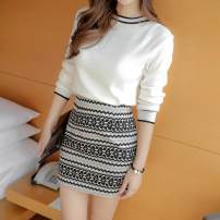 Dress Autumn 2020 white S,M,L,XL Middle-skirt Two piece set Long sleeves commute Crew neck High waist Solid color Socket One pace skirt routine Others 25-29 years old Type O Other Korean version Three dimensional decoration More than 95% other other