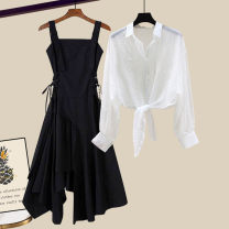 Fashion suit Summer 2021 S M L XL White shirt blue shirt apricot shirt black skirt white shirt + black skirt two sets blue shirt + black skirt two sets apricot shirt + black skirt two sets 18-25 years old Famous for silk 0407-22.00 Other 100%
