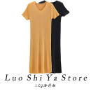 Dress Summer 2021 Blue black yellow green apricot M L longuette singleton  Short sleeve commute V-neck middle-waisted Solid color Socket A-line skirt routine 25-29 years old Type H Lothia Korean version SHIGUANG21 More than 95% knitting other Other 100% Pure e-commerce (online only)
