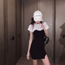 Dress Summer 2020 Black and white spot shot Lifa S,M,L Mid length dress Fake two pieces Short sleeve commute Crew neck High waist Solid color Socket A-line skirt routine Hanging neck style 18-24 years old Type H Korean version XYC20PD0032