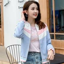 short coat Spring of 2019 S,M,L Blue and white powder coat, w8792, apricot blue, w8794, w8957-1, w8968, w8969 Long sleeves routine routine singleton  Straight cylinder routine Lotus leaf collar zipper 25-29 years old W8937
