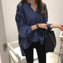 Lace / Chiffon Spring of 2018 Blue [small gift from collection store], white [small gift from collection store], green [small gift from collection store] M,L,XL,2XL,3XL,4XL Long sleeves Socket Medium length V-neck Other / other 0625W139225929534 bow