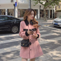 Dress Winter 2020 Picture color S,M,L Short skirt singleton  Long sleeves Polo collar High waist lattice Socket A-line skirt routine Others 18-24 years old Splicing 51% (inclusive) - 70% (inclusive) Wool polyester fiber