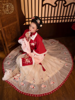 Hanfu 96% and above Red square collar, half arm, stand collar, short jacket, horse face skirt, children's full set S spot, m spot, l spot, 110 spot, 120 spot, 130 spot polyester fiber