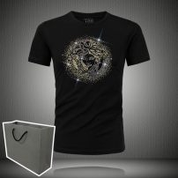 T-shirt Fashion City routine M,L,XL,2XL,3XL,4xl,5XL,6XL Versace Short sleeve Crew neck Super slim daily summer Modal fiber (modal) 49.6% cotton 44.1% polyurethane elastic fiber (spandex) 6.3% youth routine Simplicity in Europe and America Cotton wool 2020 character Hot drilling modal  Figure pattern