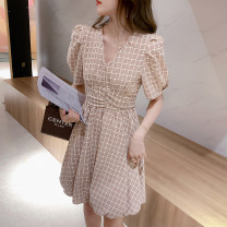Dress Summer 2021 gules S M L XL Short skirt singleton  Short sleeve Sweet V-neck middle-waisted lattice Socket puff sleeve 18-24 years old Type A Meiyingfen More than 95% other Other 100% solar system
