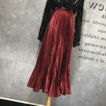 skirt Autumn 2020 Average size Versatile High waist Pleated skirt Solid color Type A fold