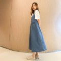 Dress Spring 2021 Denim dress M, L singleton  Sleeveless commute Hood High waist Solid color Socket routine Others 25-29 years old Korean version Frenulum 71% (inclusive) - 80% (inclusive) cotton