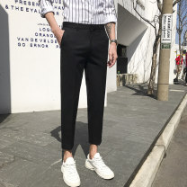 Casual pants Youth fashion 27 28 29 30 31 32 33 34 35 36 38 40 42 routine Ninth pants Other leisure Self cultivation Micro bomb summer youth tide 2020 middle-waisted Little feet New polyester fiber 100% Tapered pants Pocket decoration No iron treatment Solid color plain cloth polyester fiber