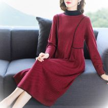 Dress Spring 2020 Brown red M L XL 2XL 3XL Mid length dress singleton  Long sleeves commute Crew neck High waist Solid color Socket routine Others 40-49 years old Dante Retro thread More than 95% polyester fiber Other polyester 95% 5% Pure e-commerce (online only)