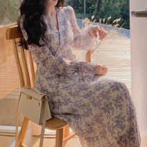 Dress Spring 2021 Light Purple Floral Skirt Black and white floral skirt S M L XL 2XL 3XL Mid length dress Long sleeves commute 18-24 years old Nado Korean version H-D1N5018 More than 95% other Other 100% Pure e-commerce (online only)