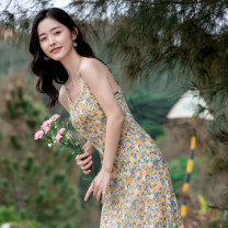 Dress Summer 2021 Yellow dress, yellow dress + yellow cardigan S,M,L,XL Mid length dress singleton  Sleeveless commute V-neck High waist Broken flowers zipper A-line skirt routine camisole 25-29 years old Type A Other / other Korean version JH-841 More than 95% Chiffon other