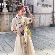 Dress Summer 2021 Picture color S,M,L Mid length dress singleton  Short sleeve commute Polo collar High waist Solid color Single breasted A-line skirt shirt sleeve Others Type A MAJE BRIAN Korean version More than 95% Chiffon polyester fiber