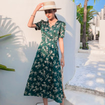 Dress Summer 2021 green S,M,L,XL Mid length dress singleton  Sleeveless commute V-neck Loose waist Decor Single breasted Ruffle Skirt routine camisole 18-24 years old Type A Other / other Swallow tail , backless , Ruffles 51% (inclusive) - 70% (inclusive) Silk and satin polyester fiber