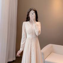 Nursing clothes Apricot color M,L,XL,2XL Other Socket autumn Long sleeves have more cash than can be accounted for Korean version Dress Solid color Side opening polyester fiber