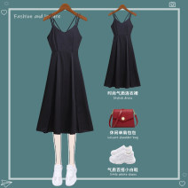 Dress Fall 2017 Black (long), black (medium and long) S,M,L,XL longuette singleton  Sleeveless commute V-neck middle-waisted Solid color Socket A-line skirt routine camisole 25-29 years old Type A A kiss Korean version 21—L20007 Chiffon polyester fiber