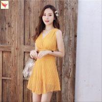 one piece  Other brands M,XL,L M82-nhfq8081 black, a44-nhfq8081 ginger yellow, u71-nhfq8081 bean paste red, p80-shuimeng9991 black, q77-meng9991 gray, k22-meng9991 pink, l45-88238 yellow, j50-88238 black No chest pad U11892 female Short sleeve Casual swimsuit