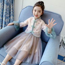 Dress green female Other / other 110cm,120cm,130cm,140cm,150cm,160cm Other 100% spring and autumn ethnic style Long sleeves Broken flowers other A-line skirt C301 Class B Five, six, seven, eight, nine, ten, eleven, twelve, thirteen, fourteen