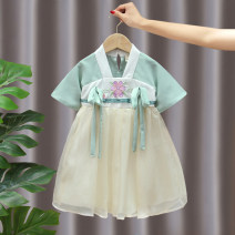 Tang costume green 90,100,110,120,130,140 Polyester 100% female summer There are models in the real shooting Thin money Other / other Class B Solid color B01 peach blossom Hanfu skirt 2, 3, 4, 5, 6, 7, 8, 9, 10 years old
