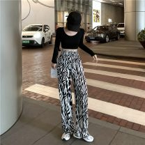 Casual pants Picture color S, M Summer 2020 trousers Wide leg pants High waist commute routine 18-24 years old 96% and above seven hundred and twelve ZARA Cellulose acetate Retro polyester fiber