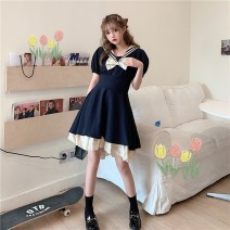 Dress Summer 2021 navy blue M [recommended 90-100 kg], l [100-120 Jin], XL [120-140 Jin], 2XL [140-160 Jin], 3XL [160-180 Jin], 4XL [180-200 Jin recommended] Short skirt singleton  Short sleeve commute Admiral High waist Solid color Socket A-line skirt Wrap sleeves Others 25-29 years old Type A bow