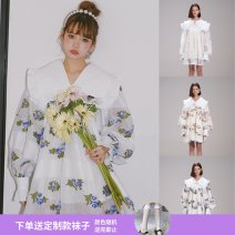 Dress Spring 2021 White, black, white mesh, pink white jacquard mesh, blue white jacquard, blue white jacquard double collar XS,S,M,L Short skirt singleton  Long sleeves Sweet Doll Collar Elastic waist Broken flowers Socket Big swing puff sleeve Others Type A ESTER HSU Embroidery EH20PF30/EH20PF29