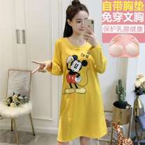 Nightdress Other / other M (recommended 80-100 kg), l (recommended 100-115 kg), XL (recommended 115-130 kg) Sweet Long sleeves Leisure home Middle-skirt autumn Cartoon animation juvenile Crew neck cotton printing 61% (inclusive) - 80% (inclusive) Knitted cotton fabric