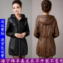 leather clothing Other / other Spring 2017 Medium length Long sleeves easy street Hood zipper routine pocket 51% (inclusive) - 70% (inclusive) Wash skin