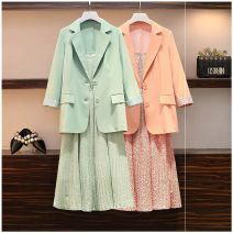 Women's large Autumn 2020 Other oversize styles Two piece set commute easy moderate Cardigan Long sleeves Korean version V-neck routine Polyester, others Three dimensional cutting routine 25-29 years old pocket Medium length Pleated skirt Lotus leaf edge Single row two buttons