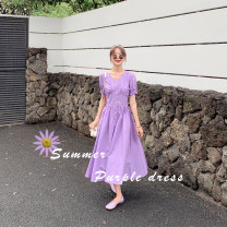 Dress Summer 2020 Purple, yellow S,M,L,XL Mid length dress singleton  Short sleeve commute V-neck High waist Solid color Socket Others 18-24 years old Ol style Button ZX220 More than 95% other polyester fiber