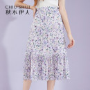 skirt Autumn 2020 S M L XL violet Middle-skirt Sweet High waist Pleated skirt Type H 18-24 years old More than 95% thinking of an old acquaintance on seeing a familiar scene polyester fiber Pleated printing Polyester 100% Pure e-commerce (online only) Mori