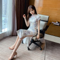 cheongsam Summer 2021 S,M,L white Short sleeve long cheongsam High slit Decor 18-25 years old Other / other 30% and below