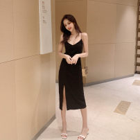 Dress Summer 2021 black Average size longuette singleton  Sleeveless commute V-neck Solid color other routine 25-29 years old Other / other 30% and below other