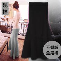 skirt Autumn of 2019 S (skirt length 85CM), s (skirt length 90cm), l (skirt length 85CM), l (skirt length 93cm), XL (skirt length 85CM), XL (skirt length 93cm), XXL (skirt length 85CM), XXL (skirt length 93cm) Black, dark grey, dark green, hemp grey, thin black longuette commute High waist skirt