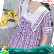Women's large Spring 2021, summer 2021 violet M (80-100kg), l (100-120kg), XL (120-140kg), 2XL (140-160kg), 3XL (160-180kg), 4XL (180-200kg) Dress singleton  commute easy moderate Socket Short sleeve lattice Admiral Medium length Three dimensional cutting Other / other 18-24 years old Medium length
