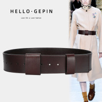 Belt / belt / chain Double skin leather female Waistband Versatile Single lap Youth, youth Smooth button Glossy surface Glossy surface alone Other / other GP-1029