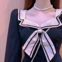 Dress Splicing Autumn 2020 Medium length skirt Long sleeve singleton  routine S,M,L,XL,2XL
