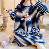 Nightdress Other / other 160(M),165(L),170(XL),175(XXL) Cartoon Long sleeves pajamas longuette autumn Cartoon animation youth Crew neck cotton printing More than 95% pure cotton 240g