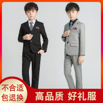 Suit / Blazer Black without shirt, gray without shirt, black with shirt, gray with shirt 90cm,100cm,110cm,120cm,130cm,140cm,150cm,160cm,170cm Radish male There are models in the real shooting college winter stripe A button thickening cotton Class B H19135 Cotton liner