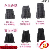 skirt Autumn of 2018 Large size (120-150kg), average size (90-120kg) Black perspective is 80cm, black perspective is 65cm, black perspective is 40cm, black lining is 40cm, black lining is 80cm, black lining is 65cm longuette Sweet High waist A-line skirt Solid color Type A 18-24 years old Lace